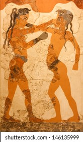 ATHENS, GREECE - FEBRUARY 23: Ancient fresco depicting two young boxers, found in Akrotiri in the island of Santorini dating from circa 1500 BC. Photo taken on 23 February 2012 in Athens, Greece.