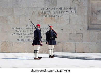 ATHENS, GREECE - FEBRUARY 24 2017: Evzones - presidential ceremonial guards in the Tomb of the Unknown Soldier at the Greek Parliamen, Athens, Greece