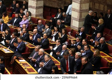 ATHENS, GREECE - FEBRUARY 6,2015: At the Greek parliament during a session of a Vote for the President of the Parliament