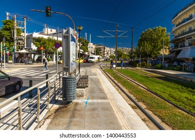 Athens, Greece – Glyfada tram stop, on October 26 2018 in Greece.