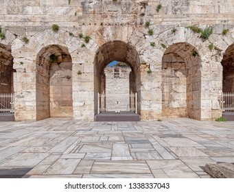 Athens Greece, Herodium ancient roman theater arched front facade