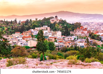 Athens, Greece. Incredible and fascinating sunset skyline of ancient city Athen, the capital of Greece.