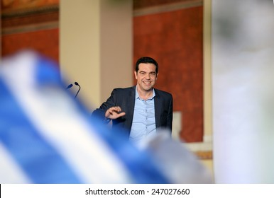 Athens, Greece Jan. 25, 2015. Leader of Syriza left-wing party Alexis Tsipras in his victory speech to his supporters outside Athens University. Syriza, won Sunday's general election.