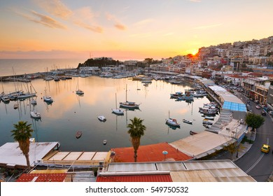 Athens, Greece - January 01, 2017: Evening view of Mikrolimano marina in Athens, Greece.