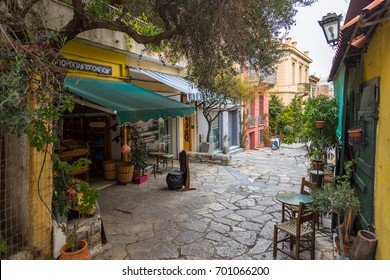 ATHENS, GREECE - January 07, 2017: Narrow street and buildings of the historic part of Athens. The Plaka is the oldest district of Athens.