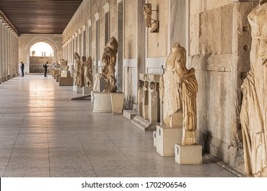 Athens, Greece - January 11, 2020: Interior view of Stoa of Attalos in Agora of Athens. Stoa of Attalos (or Attalus) built around 150 BC, by Attalos II - King of Pergamos as a donation to Athens.