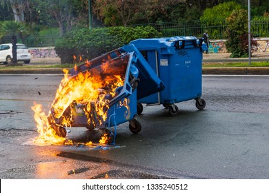 Athens, Greece - January 20, 2019: Burnt and melted trash bin from fire in the city of Athens after a demonstration event.