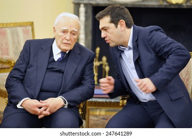 Athens, Greece, January 26, 2015. Greek President Karolos Papoulias (left) discusses with the new (and young) Prime Minister Alexis Tsipras.