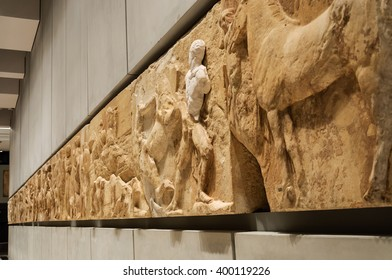 ATHENS, GREECE - JANUARY 28, 2011: West frieze on the 3rd level of the New Acropolis Museum, at night with no people