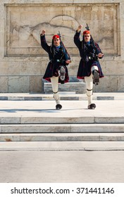 ATHENS, GREECE - JANUARY 30 2016: The Evzones, changing of the guard at the Tomb of the Unknown Soldier, Syntagma Square, Athens