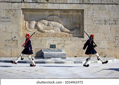 Athens, Greece, January 30 2018 - Changing of Presidential guards ceremony in front of the Tomb of the unknown soldier at the Greek Parliament.