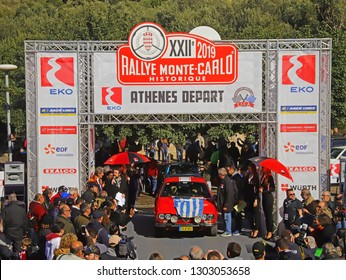 ATHENS, GREECE, JANUARY 30, 2019. Classic italian car Alfa Romeo Alfetta GTV, of 1976, at the Athens start of the 22nd RALLYE MONTE-CARLO HISTORIQUE