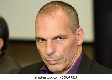 ATHENS, GREECE - JANUARY 31, 2015: Finance Minister Yanis Varoufakis during a press conference at the Finance Ministry in Athens
