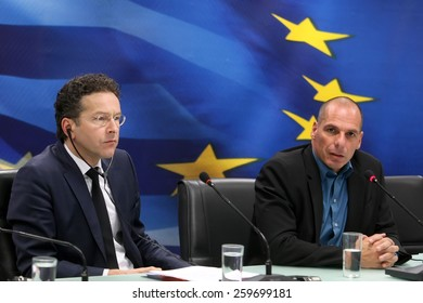 ATHENS, GREECE - JANUARY  31, 2015:Dutch Finance Minister and Eurogroup President Jeroen Dijsselbloem (L) and Greece's Finance Minister Yanis Varoufakis (R) during a joint press conference in Athens.