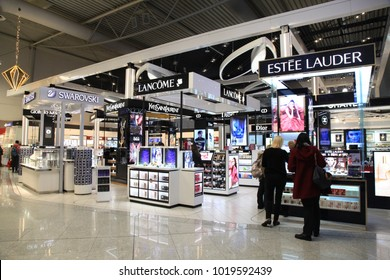 ATHENS, GREECE - JANUARY 6, 2018: Duty free shops at Eleftherios Venizelos airport in Athens, Greece