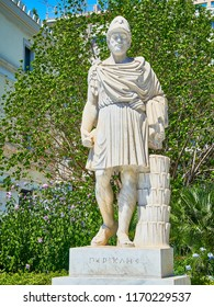 Athens, Greece - July 1, 2018. Statue of Pericles at the Athinas street of Athens. Attica region, Greece.