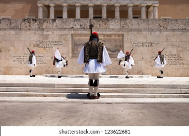 ATHENS, GREECE - JULY 15: The Changing of the Guard ceremony takes place in front of the Greek Parliament Building on July 15, 2012 in Athens, Greece.