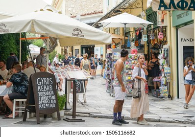 ATHENS GREECE - JULY 15; People wandering the streets, shopping and dining in Plaka district July 15 2019, Athens Greece.