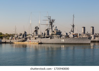 ATHENS, GREECE - JULY 19, 2015: Warship in a summer day in a port Piraeus in Athens, Greece