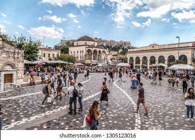 Athens, Greece - July 19, 2018: Cityscape view from Athens, the capital of Greece. Buildings and people at Monastiraki Square.