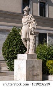 Athens, Greece - July 20, 2018: Statue of Pericles, ancient Greek statesman, made by H. Faltermeier in 1971.