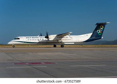 ATHENS / GREECE - JULY 2017 Olympic Air De Havilland Canada DHC-8-402Q Dash 8, SX-OBD, cn 4311 taxiing to the runway for a flight to Mytilene.