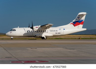 ATHENS / GREECE - JULY 2017 Sky Express ATR 42-320, SX-NIK , cn 291 taxiing to the runway for a flight to Zakynthos .