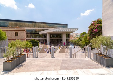 Athens, Greece - July 21, 2018: Entrance of the famous Acropolis Museum in Athens, Greece. The museum was founded in 2003 and was opened to the public on 20 June 2009.