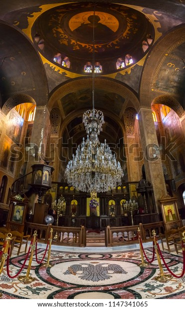 Athens, Greece - July 21, 2018: Interior view of Church Agia Marina (Santa Marina) on the Hill of Nymphis under the Acropolis in Athens, Greece.