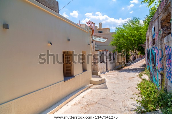 Athens, Greece - July 21, 2018: Architectural details from the narrow streets of Anafiotika, a traditional village in Athens, the Greek capital. Old neighborhood on the slopes of Acropolis, Greece.