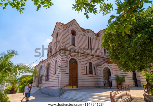 Athens, Greece - July 21, 2018: Exterior view of Church Agia Marina (Santa Marina) on the Hill of Nymphis under the Acropolis in Athens, Greece.