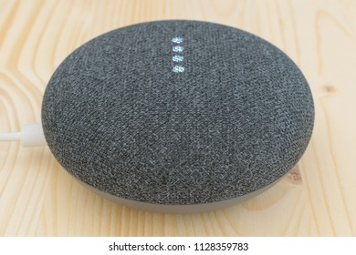 Athens, Greece - July 5 2018: Google home mini smart speaker with built in Google Assistant