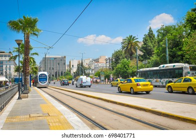 Athens, Greece - June 13, 2017: View of generic architecture and traffic in central Athens, Greece