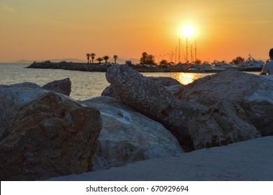 ATHENS, GREECE - JUNE 14: Glyfada night seashore in Glyfada, Athens, Greece on June 14, 2017.
