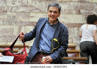 ATHENS, GREECE - JUNE 16, 2015: The Greek government has announced that the new finance minister, Euclid Tsakalotos. Portraits