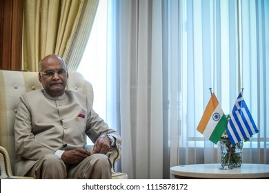 Athens - Greece, June 18, 2018: Indian president  Ram Nath Kovind (R) listens to Greece's Prime Minister Alexis Tsipras, at their meeting in Athens, Greece