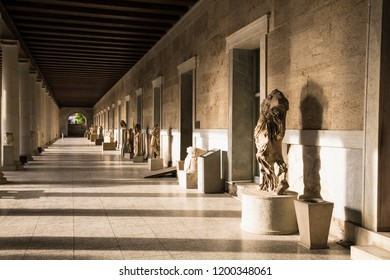 Athens, Greece - June 20 2016. Sculpture of Aphrodite in the porch of the Stoa of Attalos building at the Ancient Agora of Athens. Attica region, Greece.
