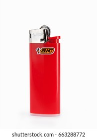 ATHENS, GREECE – JUNE 20, 2017: Red BIC lighter isolated on white background