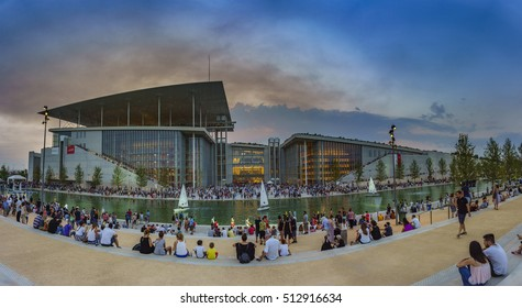 ATHENS, GREECE - JUNE 2016: The Stavros Niarchos Foundation is an international philanthropic organization which makes grants in the areas of arts culture education health medicine and social welfare.