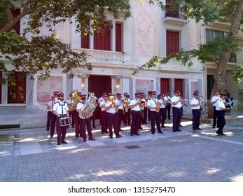 Athens, Greece - June 24 2015: Philharmonic orchestra of Athens municipality performing on Dionisiou Aeropagitou Street.