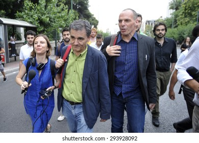 ATHENS, GREECE - JUNE 28, 2015: The new finance minister of Greece Euclid Tsakalotos (L) and the Former Minister of Finance Yanis Varoufakis (R)