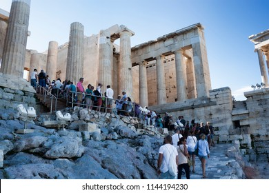 ATHENS, GREECE - JUNE 29, 2018:  At the Acropolis of Athens is always crowded - this is the most visited monument of antiquity in Greece