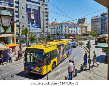 Athens, Greece - June 29, 2018. Tram crossing Omonia Square, Athens.