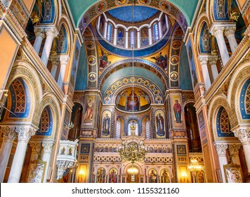 Athens, Greece - June 30, 2018. Chancel of The Metropolitan Cathedral of the Annunciation, also known as the Mitropoli or Metropolis. Athens, Attica region, Greece.