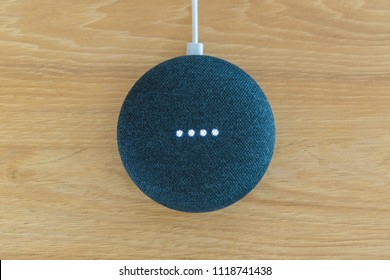Athens, Greece - June 7 2018: Google home mini smart speaker with built in Google Assistant
