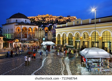 "ATHENS, GREECE -  June 7,2009. Monastiraki square in the ""blue"" hour, with Acropolis in the background."