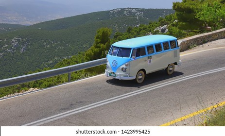 ATHENS, GREECE, JUNE 9, 2019. Classic car VW Type 2 (T1) Microbus, made in Brazil in 1975, during the classic climb of Mount Parnes, close to Athens, Greece.
