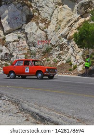 ATHENS, GREECE, JUNE 9, 2019. Classic car LADA 2101, made in USSR in 1978, during the classic climb of Mount Parnes, close to Athens, Greece.