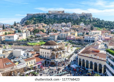 ATHENS, GREECE - MARCH 08, 2018: Panoramic view of the Acropolis of Athens. Greece.