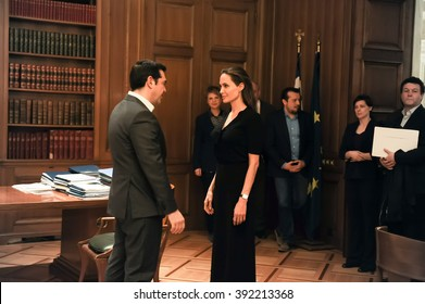 Athens, Greece - March 16, 2016: Special envoy of the United Nations High Commissioner for Refugees Angelina Jolie (R) during a meeting with Greek Prime Minister Alexis Tsipras